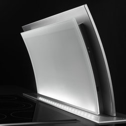 """Jenn-Air® 36"""" Accolade™ Downdraft Ventilation System - The Jenn-Air® Accolade™ Downdraft Ventilation System offers striking design, innovative ventilation and a graceful curve. It elegantly rises above the cooking surface to quietly clear the air, then disappears on command."""