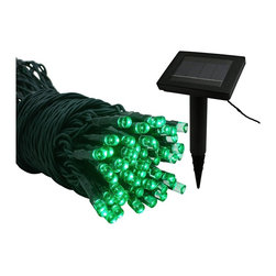 Lamps Plus - Contemporary Solar Powered 22 Foot Long Green LED String Lights - Perfect for lining walkways windows trees gazebos decks stairs and railings and as holiday decor this string of outdoor green LED lights uses the sun to power its polycrystalline solar panel and eliminate the need for messy wires and outdoor outlets. Provide 8-12 hours of illumination depending on sunlight conditions and turn on/off automatically via a built-in light sensor. The 50 extremely bright LED lights make a radiant outdoor design statement. Includes rechargeable battery pack. Solar-powered. 50 green LED lights on electrical wire roping. Includes one rechargeable 600 mAh solar cell AA battery. 35 feet end to end (25 1/2 feet light-to-light plus 9 1/2 feet of lead).  Solar-powered.   No need for plugs or wiring.  50 green LED lights on electrical wire roping.   Includes one rechargeable 600 mAh solar cell/electronics box AA battery.   Automatic on/off light sensor.    22 feet end to end (17 feet light-to-light plus 6 feet of lead).