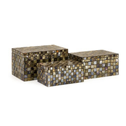 iMax - Noida Mosaic Boxes, Set of 3 - Glass and mirrored tiles in neutral palette breathe life into these classic decorative boxes. Use to store odds and ends or simply as a decorative touch. For a coordinated look purchase matching vases and decorative balls.