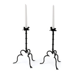 Go Home - Pair of iron Rose on a Vine Candlesticks - Beautiful Rose On A Vine Candlestick presents a graceful curved base ,It is nicely crafted with iron and the iron rose is perfect candle holder.Place it mid of your dining table it will give fantastic look to your table.Available as a pair.