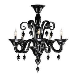 Cyan Design - Cyan Design Five Lamp Chandelier in Black - Five Lamp Chandelier in Black with Candle Shaped Bulbs.