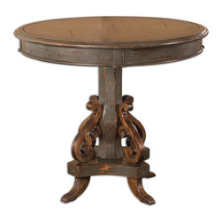Uttermost - Anya Round Pedestal Table - First, there was the little black dress. Now, there is the little round pedestal table. A hand-painted, rubbed, charcoal-gray finish gives this mango wood table its distinct patina and suddenly your favorite leather chair looks new again.