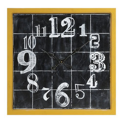 iMax - iMax Mitchell Wall Clock X-17247 - A fun addition to any room, the Mitchell Wall Clock features a face painted to look like a chalk board drawing. With it's bright yellow frame and quirky numbering, this clock will make you smile while you pass the time.