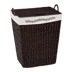 CreativeWare Home - Coventry Finish Hamper in Espresso - 18.5 in. W x 23 in. H x 12 in. D. Hamper with Lid and Handles. Embroidery accents. Removable Fabric Liner. Espresso Finish. Dyed Rush