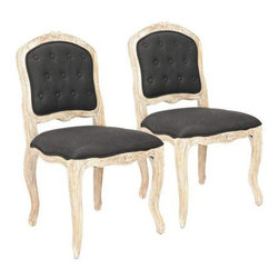 """Safavieh - Safavieh MCR4551A-SET2 Carissa Side Chair - """"Charming and perennially chic, the Carissa side chair is classically Country French in every detail, from its beautifully carved frame to its pickled white oak finish.  Richly upholstered in black linen with button-tufted back and decorator welting, this chair is sold in sets of two."""