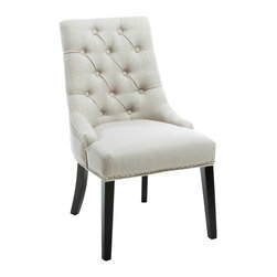 Great Deal Furniture - Adara Light Beige Fabric Dining Chair - Bring a bit of class to your dining area with the Adara Light Beige Tufted Linen Dining Chair. This piece features natural linen upholstery, a button tufted backrest and silver colored studs.