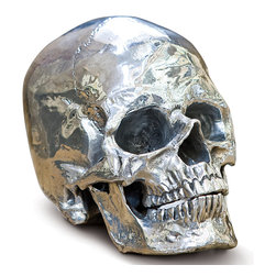 Kathy Kuo Home - Hamlet Industrial Loft Antique Bronze Metal Skull - Thoroughly thought-provoking, this incredibly realistic rendering of a human skull will be a conversation starter at any gathering. Sculpted in antique bronze, every tiny detail is visible. We love this artistic accent for a library, office or Industrial Loft.