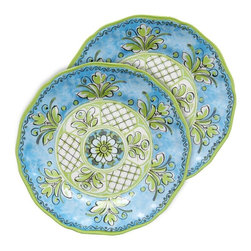 Le Cadeaux - Le Cadeaux 11 in. Benidorm Blue Dinner Plate - Set of 4 - LCDE319 - Shop for Dishes and Plates from Hayneedle.com! Bring some added vibrancy to mealtime with the Le Cadeaux 11 in. Benidorm Blue Dinner Plate - Set of 4. This set of two vibrant plates - featuring designs inspired by French and Italian aesthetics - is perfect for your home. The plates are crafted of triple-weight melamine that's lead- cadmium- and BPA-free. They're dishwasher-safe too for added convenience! About Le Cadeaux A subsidiary of Touch of Europe Le Cadeaux specializes in beautiful melamine dishes placemats towels and other kitchen necessities. With items from many countries including France Italy Great Britain Sweden and others Le Cadeaux is sure to have just the piece to suit any taste.