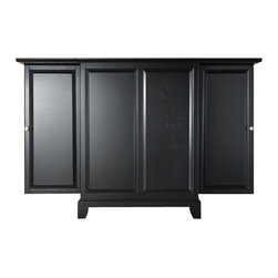 Crosley Furniture - Crosley Furniture Newport Expandable Bar Cabinet in Black - Crosley Furniture - Home Bars - KF40001CBK - Constructed of solid hardwood and wood veneers this expandable bar cabinet is designed for longevity. The beautiful raised panel doors provide the ultimate in style to dress up your home. The doors open and top folds out to double the size of your entertaining / serving area. Inside the doors you will find plentiful storage space for spirits glassware and a host of other bar items. The center cabinet features 16 bottle wine storage utility drawer hanging stemware storage and extra space for a variety of other barware.