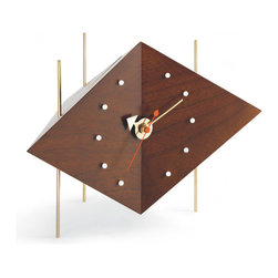 Vitra - Nelson Solid Walnut Diamond Desk Clock - This thoroughly modern clock was first designed in 1953 by George Nelson, one of the fathers of American modernism. The faceted walnut wood base has metal accents and thin rod feet with a jolt of color from the sweeping seconds hand.