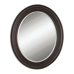 Uttermost - Uttermost 14610  Ovesca Oval Mirror - Dark, oil rubbed bronze finish with gold highlights. mirror is beveled. may be hung horizontal or vertical.