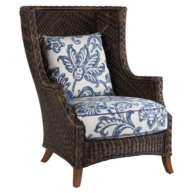 Lexington - Tommy Bahama Island Estate Lanai Wing Chair - Inspired by one of our best selling indoor frames, this high back wing chair is attractive for both its design and comfort. The twisted woven wicker has a warm umber finish with light and dark hues similating natural elements, although these are manmade.
