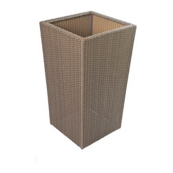 """All Backyard Fun - Terrace Collection Wicker Planter, 34"""" - Match your outdoor planters and pots to your patio furniture with the new wicker line of stack-able pots! These beautifully designed planters are flat weave wicker, made from high-quality, durable resin that will last for years and years. These are an All Backyard Fun exclusive!"""
