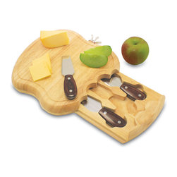 "Picnic Time - Apple Cutting Board - The Apple by Picnic Time is the ideal accessory for your next cocktail or dinner party. It's an apple-shaped cutting board with a stem and leaves-shaped bottle stopper and three stainless steel cheese tools. The Apple measures 10.5"" x 10"" x 1.5"" and is made of eco-friendly rubberwood, a hardwood that's known for its durability and beautiful grain. The bottle stopper is made of nickel-plated alloy, which sits at the top of the board in its own nook. The pull-out drawer is designed to resemble a bite mark in the ""apple"" and houses the three cheese tools inside: 1 double-edged hard cheese knife, 1 cheese fork, and 1 blunt-nosed soft cheese knife, all with handles made of dark resin-stabilized wood that is durable and beautiful to the eye. Look closer and you might think you're looking at apple seeds! The Apple makes a lovely gift for those who enjoy entertaining in style. Includes: 3 stainless steel cheese tools with laminated wood handles (1 soft cheese knife, 1 hard cheese knife, and 1 knife for crumbling cheese), and 1 ornate bottle stopper shaped like the stem and leaves of an apple"