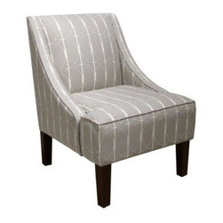 Skyline Swoop Arm Chair - Menton Linen - There's a distinctly elegant style about the Skyline Swoop Arm Chair - Menton Linen that doesn't demand attention, but it also won't be ignored. This charming chair features subtle, swooped arms that are complemented by the modern pattern of the linen-blend fabric. Thick foam padding covers a wooden frame that's designed for years of use. The slender legs of solid wood add the final touch that makes this chair a pleasant addition to any contemporary space.About Skyline Furniture Manufacturing Inc.Skyline Furniture was founded in 1948 with the goal of producing stylish, affordable, quality furniture for the home. After more than 50 years, this family-run business is still designing and manufacturing unique products that meet the ever-changing demands of the modern home furnishing industry. Located in the south suburbs of Chicago, the company produces a wide variety of innovative products for the home, including chairs, headboards, benches, and coffee tables.