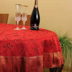 """Unique & DecorativeTablecloths - Bright """"Scarlet Red"""" Hand Embroidered 53"""" Round tablecloth. Christmas & Holidays decor ideas. Transform your table tops into a display of art. Dupion silk fabric."""