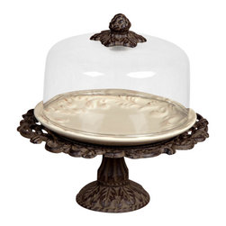 "GG Collection - GG Collection 9"" Dessert Pedestal with Glass Dome - Dessert Pedestal w/Glass Dome, Cream Ceramic Plate & Metal Base, Original Acanthus Leaf, 9in Dia. x 9in H, Care: Ceramic is dishwasher safe, wash metal & glass in mild soap and dry with a soft cloth"