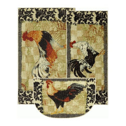 Mohawk Home - Mohawk New Wave Kitchen Bergerac Rooster Black Transitional Kitchen 1'8 x 3'9 - A beautiful black and white damask pattern creates the perfect compliment to this country farm pattern.  This rug is a trendy way to add a vintage twist to your kitchen's d
