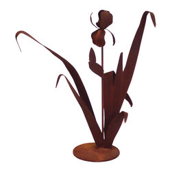 Z Garden Party, Inc. - Iris Garden Art Sculpture - This single Iris Garden Art Sculpture is the actual size of a live iris. It is a beautiful addition for any garden or home. This is hand made in America from heavy rusted steel. It is designed by California artist Susan Regert.