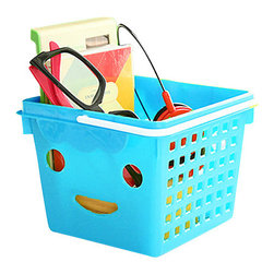 Smiley - The Small Plastic Basket, Blue - these little plastic baskets are ever so happy to be toting your trinkets. comes in a variety of bright fun colors – pink, yellow, blue, or green.