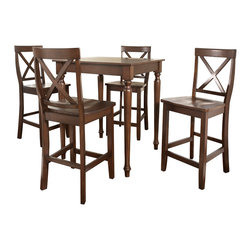 Crosley - 5 Piece Pub Dining Set with Turned Leg and X-Back Stools - Dimensions: 36 x 36 x 7 inches
