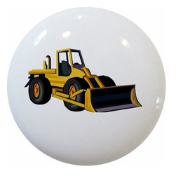 Carolina Hardware and Decor, LLC - Bulldozer Construction Ceramic Knob - New 1 1/2 inch ceramic cabinet, drawer, or furniture knob with mounting hardware included. Also works great in a bathroom or on bi-fold closet doors (may require longer screws). Item can be wiped clean with a soft damp cloth. Great addition and nice finishing touch to any room!