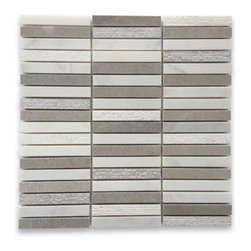 "GlassTileStore - Esker Portland Gray Bricks Marble Tile - Esker Portland Gray Bricks Marble Tile             This marble mosaic will provide endless design possibilities from contemporary to classic. It creates a great focal point to suit a variety of settings. The mesh backing not only simplifies installation, it also allows the tiles to be separated which adds to their design flexibility. Natural stones are products of nature, therefore, variations in color, pattern, texture, and veining will occur.         Chip Size: 5/8""x 4""   Color: Lady Gray and Asian Statuary   Material: Marble   Finish: Honed and Chiseled    Sold by the Sheet - each sheet measures 12"" x 12"" (1 sq. ft.)   Thickness: 10mm   Please note each lot will vary from the next.            - Glass Tile -"