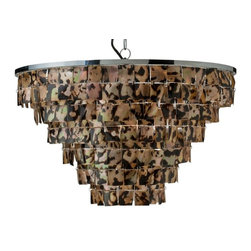 Kouboo - Round Brownlip Seashell Pendant - Exquisitely crafted, each pendant light includes approximately 400 hand cut Brownlip seashells in an elegant formation that. Hung from a silver polished iron frame, these tawny brown seashells will highlight the beauty of your home and cast a beautiful glow. 1 year limited warranty.