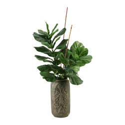 "D&W Silks - Artificial Fiddle Leaf Fig and Bamboo in Tall Stone Vase - It's amazing how much adding a plant can change the look of a room or decor, but it can be difficult if your space is not conducive to growing plants, or if you weren't exactly born with a ""green thumb."" Invite the beauty of nature into your home without all the upkeep with this maintenance-free, allergy-free arrangement of an artificial fiddle leaf fig and bamboo in a tall stone vase. This is not a living plant."