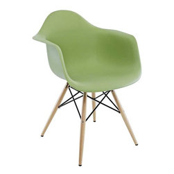 "Modway - Pyramid Dining Armchair in Green - Wood Pyramid Armchairs are crafted out of molded plastic for the seat and a solid wood ""pyramid"" base. Comfortable and versatile, this chair can be used to decorate any space."