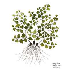 Maidenhair Fern Botanical Print by GollyBard - I will be the first to admit that I have trouble keeping Maidenhair ferns alive, but with this print, I can keep one alive forever.