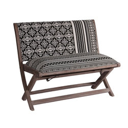 Modelli Creations - Boho Chic Black And White Bench Upholstered With Tribal Fabric - This bench is beautifully crafted in hardwood and upholstered with woven tribal fabric. Made with seasoned hardwood.
