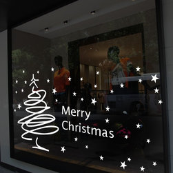 ColorfulHall Co., LTD - Window Stickers Christmas Tree In Abstract Design With Stars, White - Window Stickers Christmas Tree in Abstract Design with Stars Merry Christmas