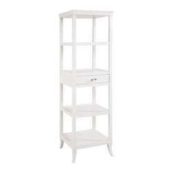 Sterling Industries - Tamara Tower in White - The top has a gracefully curved, removable serving tray. One drawer and four shelves. Diverse functionality as a bar or room divider or as dramatic shelves.