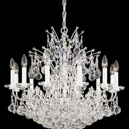 Schonbek - Contessa Silver 24-Light Crystal Swarovski Elements Chandelier, 26W x 24H x 26D - -Swarovski Elements: Swarovski Elements is the premium brand for finest crystal elements manufactured by Swarovski. Available in a myriad of colors, effects, shapes and sizes, these elements provide a fabulous palette of inspiration for designers in the lighting industry and interior design, as well as in the worlds of fashion, jewelry and accessories. Swarovski Elements have been designers? choice since 1895.  - Beautifully trimmed with its faceted crystal spheres, Contessa has an astonishing effect on the energy of any room. Also Made with Swarovski Elements.  -Crystal Swarovski Elements  - Wire Length (in inches): 159  - Light Source: Incandescent Bulb  - Bulb 1 (US)B10-12, 60 Max. - Not Included - Bulb 2 (US)B8-6, 60 Max. - Not Included; Bulb 3 (US)G12-6, 60 Max. - Not Included  - Chain Length (in inches): 84  - Uses standard line volt dimmer  - Some assembly required  - Lead free crystal  - For shipping outside of USA, please contact Bellacor customer service  - Cleaning and Care Instructions: Every Schonbek product is of heirloom quality and will last for generations. To ensure it retains its brilliance and splendor for years to come, proper care and regular cleaning are necessary. It is recommended that Schonbek products, and particularly their crystal trim, be lightly dusted with a feather or lambswool duster, or soft brush every two months, or whenever it appears dull or dusty. Consult the fixtures trim diagram for detailed cleaning instructions list of approved cleaning solutions. Schonbeck fixtures should never be subjected to any chemical cleaning agents. - See packaging insert for warranty information. Schonbek  - 4823-40S
