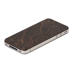 Lazerwood - Topo iPhone Cover, Black - Low profile, real wood veneer cover for iPhone. Peel-and-stick backing makes the cover easy to apply and remove without damage to the phone. Designed and made in Seattle, WA.