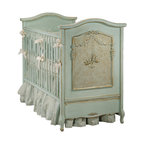 Twin Cherubini Room - Shown in Versailles Blue, this version of AFK's flagship Cherubini crib has hand rubbed gold accents.  Adorned with caning and appliqued moulding the Cherubini style is timeless.