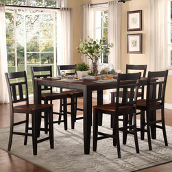 Homelegance - Homelegance Westport 7 Piece Counter Height Table Set in Black & Cherry - The two-tone black and cherry finish of the Westport Collection provides a timeless look to your casual dining room. Coordinating wood chairs match the black table legs that rise to support the expandable cherry finished tabletop. The Westport Collection is offered in both counter and traditional dining heights.