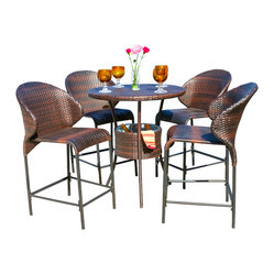 Great Deal Furniture - Bennett Outdoor 5pc Bistro Bar Set w/ Ice Pail - Enjoy the outdoors or poolside with the Bennett 5pc bistro bar set. Constructed from multi-brown wicker, this set includes one (1) bar table, complete with four (4) bar stools and a convenient ice pail for keeping beverages cool within close proximity to your guests. This set is perfect for your backyard, deck or poolside area.