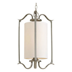 Progress Lighting - Inspire Brushed Nickel One-Light Pendant with Beige Linen Shade - - One-light Large Foyer Pendant  - Finish/Color: Brushed Nickel  - Glass: Beige  - Wire Length: 120-Inch  - Over all Length: 96-Inch  - Product Width: 14.75  - Product Height: 20.25  - Product Weight: 11  - Product Dept: 14.75  - Material: Steel  - Bulb NOT included Progress Lighting - 94379909