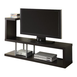 "Monarch Specialties - Monarch Specialties 2550 TV Console in Cappuccino - Constructed from thick hollow-core, this cappuccino open TV console will make a great addition to your home. Accommodates up to a 60"" flat panel TV and component storage. Enjoy the contemporary styling of the rich cappuccino finish and chrome support rods."