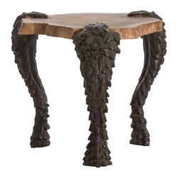 Arteriors - Grotto Side Table - The Grotto table combines historical motifs with a modern silhouette.  A trio of serpentine cast aluminum legs are finished in natural black and gracefully curve to support the solid wood top.  The waxed finish on the Sheesham wood highlights the exposed ring detail and provides an interetsing contrast to the serpent legs.  This piece is guaranteed to get a conversation started.