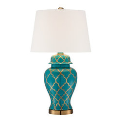 Pacific Coast - Moorish Pattern Ceramic Table Lamp - A bright teal blue ceramic table lamp with a gold Moorish pattern. A gold, traditional Moorish pattern adorns this large urn shape ceramic table lamp. The gold pattern stands out against the teal blue background. A white hardback drum shade on top and a gold finish stand on the bottom finish off this delightful home accent.