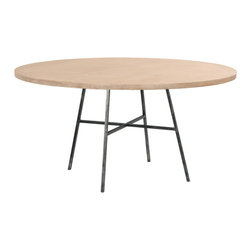 """Redford House - Redford House Spencer Round Dining Table - Sleek and sophisticated, the Redford House Spencer dining table captivates in modern interiors. Atop an industrial metal base, this furnishing's round wooden top exudes compelling simplicity. Shown in Cashew and blackened iron; Iron base; Solid hardwood top made from Pacific Northwest Alder wood; Available in several size and non-toxic finish options; Hand-finished; Optional distressing mimics everyday wear; Color and texture may vary from piece to piece; 42""""W x 42""""D x 30""""H; 44""""W x 44""""D x 30""""H; 48""""W x 48""""D x 30""""H; 54""""W x 54""""D x 30""""H; 60""""W x 60""""D x 30""""H; Base: 36""""W x 36""""D"""