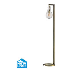 HGTV HOME - HGTV HOME HGTV329 Foucault 1 Light Floor Lamps in Antique Brass - Antique Brass Floor Lamp