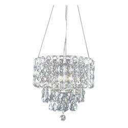 Warehouse of Tiffany - Antoinette Crystal Chandelier - Add an elegant touch to your home with this round ceiling chandelier. This four-light fixture features glittering crystals and a sleek chrome finish.Includes three feet of chain and 3.37 feet of wireSetting: IndoorsFixture finish: ChromeShades: CrystalNumber of lights: Three (3)Requires: Three (3) 60-watt bulbs (Bulbs not included)Dimensions: 17 inches wide x 56 inches highThis fixture does need to be hard wired. Professional installation is recommended.CSA Listed, ETL Listed, UL Listed