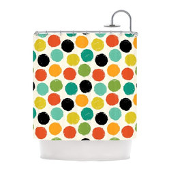 """Kess InHouse - Daisy Beatrice """"Retro Dots Repeat"""" Multicolor Shower Curtain - Finally waterproof artwork for the bathroom, otherwise known as our limited edition Kess InHouse shower curtain. This shower curtain is so artistic and inventive, you'd better get used to dropping the soap. We're so lucky to have so many wonderful artists that you'll probably want to order more than one and switch them every season. You're sure to impress your guests with your bathroom gallery in addition to your loveable shower singing."""