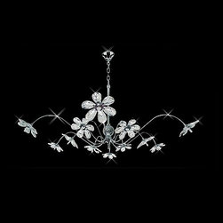Tropical Style Swarovski Crystal Petal Flowers Chandelier Pendant - Modern, yet tropical. Extravagant, yet simple. This elegant and contemporary design is constructed from the highest level of crystal on the market. The brilliant luxury & warmth of the chrome frame & brilliant crystal gives a sense of comfort right into your own home. The curves & angles of the chrome frame adorn the crystals; displayed in a Crystal Flower & Petal Design.
