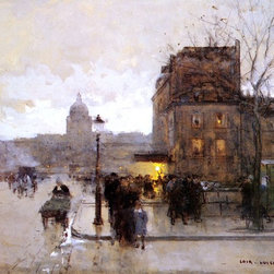 """Luigi Loir Boulevard Henri IV, Sunset - 16"""" x 24"""" Premium Archival Print - 16"""" x 24"""" Luigi Loir Boulevard Henri IV, Sunset premium archival print reproduced to meet museum quality standards. Our museum quality archival prints are produced using high-precision print technology for a more accurate reproduction printed on high quality, heavyweight matte presentation paper with fade-resistant, archival inks. Our progressive business model allows us to offer works of art to you at the best wholesale pricing, significantly less than art gallery prices, affordable to all. This line of artwork is produced with extra white border space (if you choose to have it framed, for your framer to work with to frame properly or utilize a larger mat and/or frame).  We present a comprehensive collection of exceptional art reproductions byLuigi Loir."""