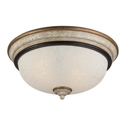 "Minka Lavery - Minka Lavery 1237-580 Provence Patina Accents Provence Tuscan 2 Light - Two Light Flush Mount Ceiling Fixture with White Patina Glass from the Accents Provence Collection Extraordinary hand painted lighting rich in historical detail. An exquisite example of classical grace. This collection recalls the style and romance of the French countryside. The finely proportioned arms and perfectly detailed wood grained columns are complemented by the stunning glass shades. This beautiful style has been reinterpreted by Jessica McClintock Home for today's interiors. Features:  Jessica McClintock Home  Design White Patina Glass ETL Damp Listed Requires (2) 60 watt Medium Base Bulbs (Not Included)  Specifications:  Height: 6.75"" Width: 14.75"" Length: 14.75"" Product Weight: 7.74 lbs. Number of Bulbs: 3 Watts Per Bulb: 60 Wattage: 180"